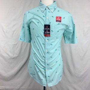 Chaps Green Short Sleeve Palm Tree  Button Up